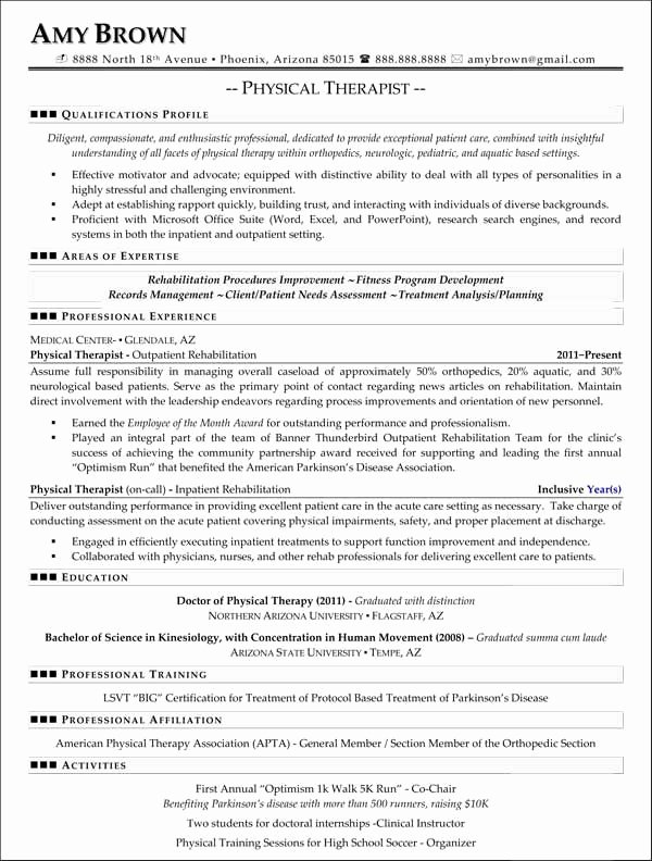 Physical therapy Student Resume Awesome Professional Resume Samples Resumes