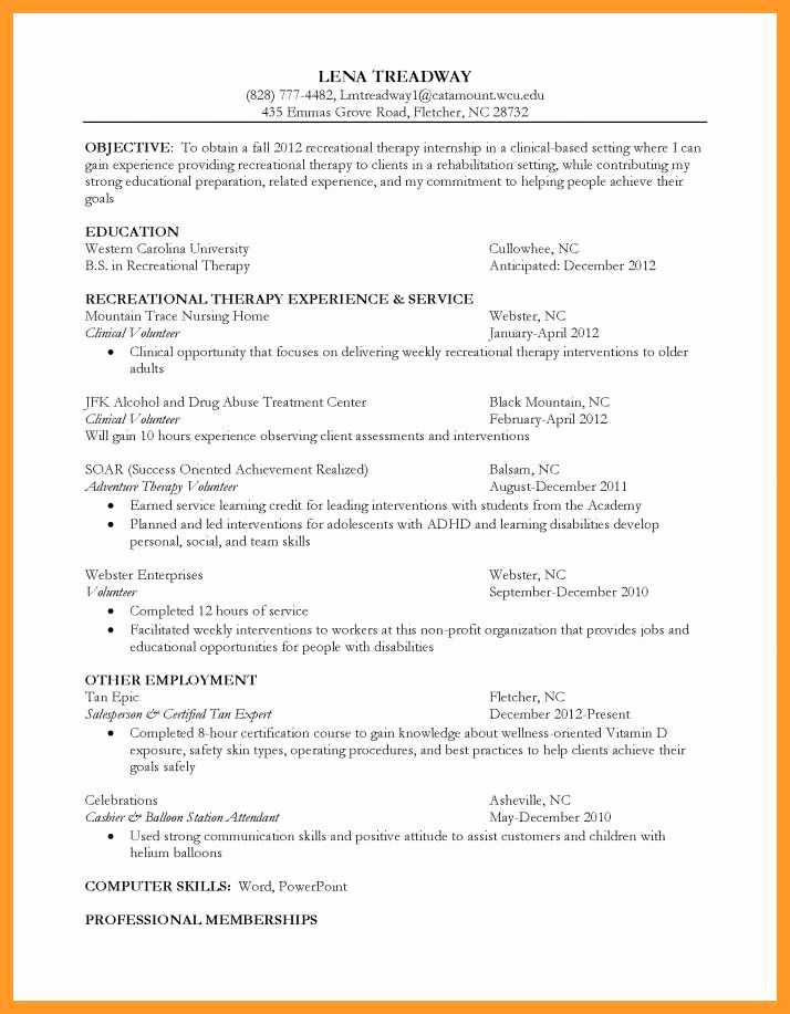 Physical therapy Student Resume Beautiful 9 10 Recreational therapist Resume