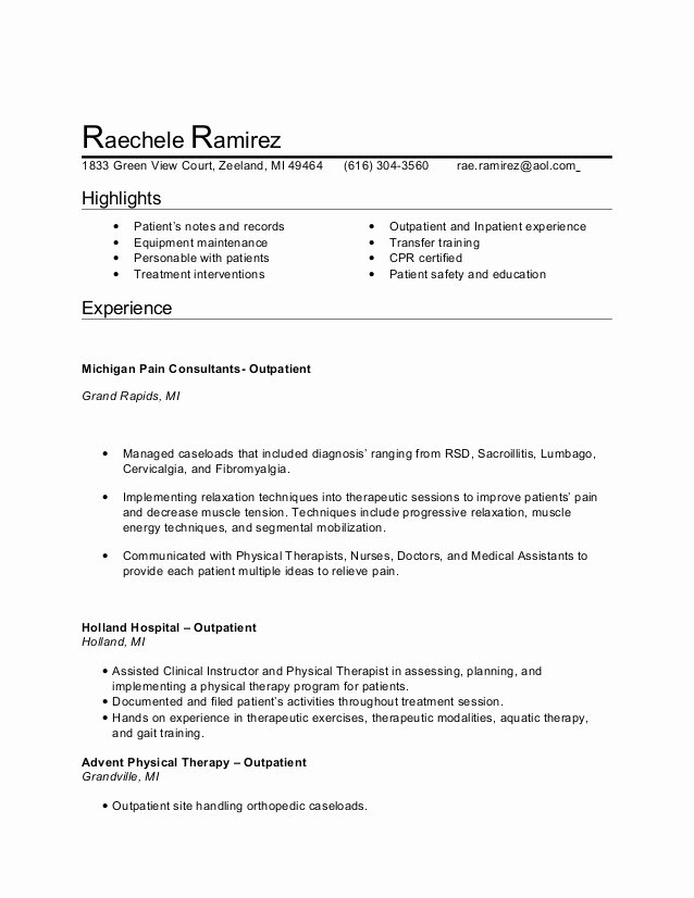 Physical therapy Student Resume Best Of Pta Resume