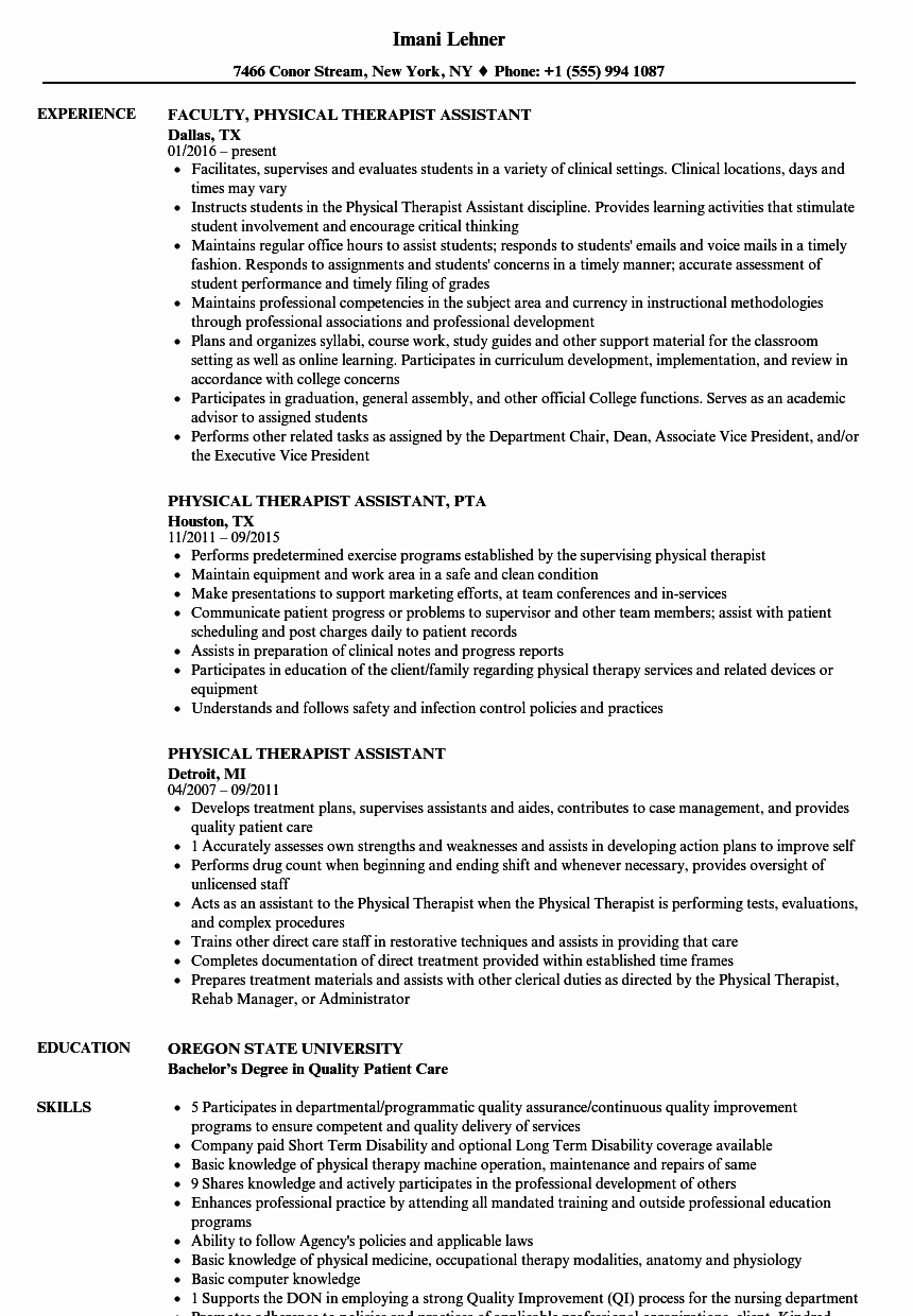 Physical therapy Student Resume Fresh Physical therapy Documentation Examples