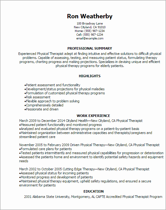 Physical therapy Student Resume Inspirational 1 Physical therapist Resume Templates Try them now