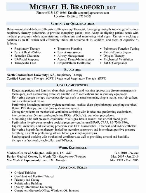 Physical therapy Student Resume New Respiratory therapist Resume Sample Work Pinterest