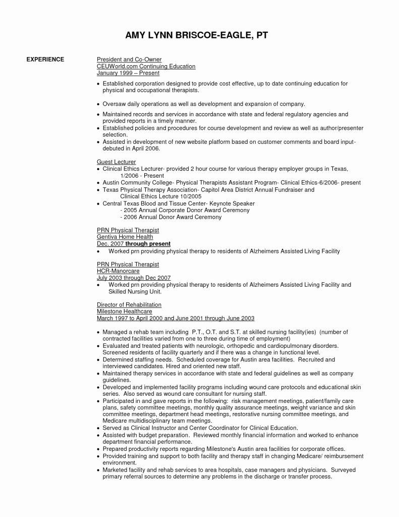 Physical therapy Student Resume Unique Physical therapy Resume Objective Templates Examples Technician therapist Aide Stock S Hd