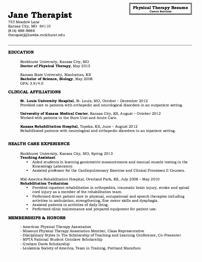 Physical therapy Student Resume Unique Physical therapy Resume Sample therapy Resume Sample