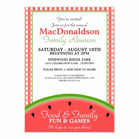 Picnic Invitation Template Free Awesome Watermelon Picnic Family Reunion Invitations
