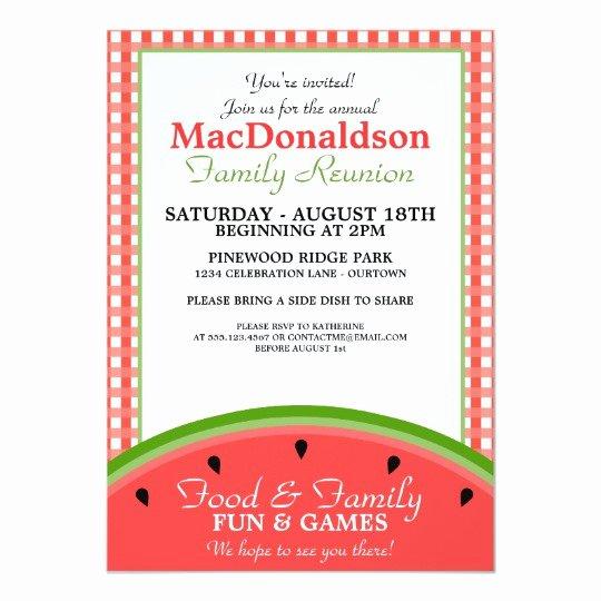 Picnic Invitation Template Free Awesome Watermelon Picnic Family Reunion Invitations