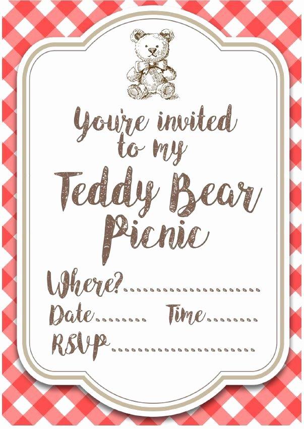 Picnic Invitation Template Free Elegant Free Printable Teddy Bear Picnic Invites