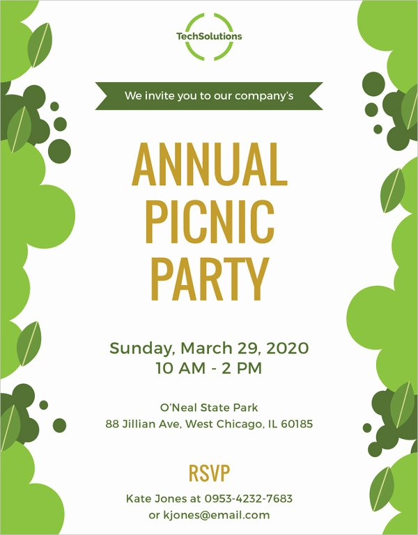 Picnic Invitation Template Free Fresh Picnic Invitation Template 26 Sample Example format Download