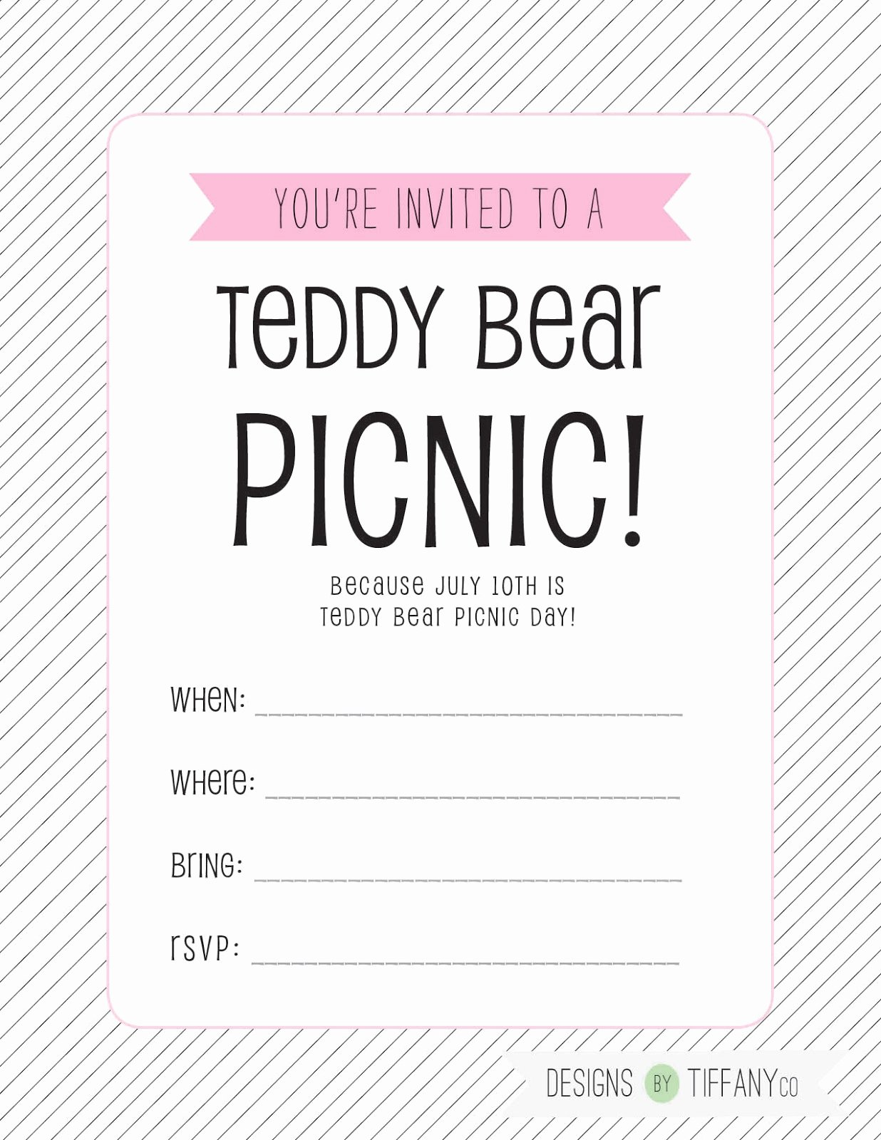 Picnic Invitation Templates Free Inspirational Free Printable July 10th is Teddy Bear Picnic Day