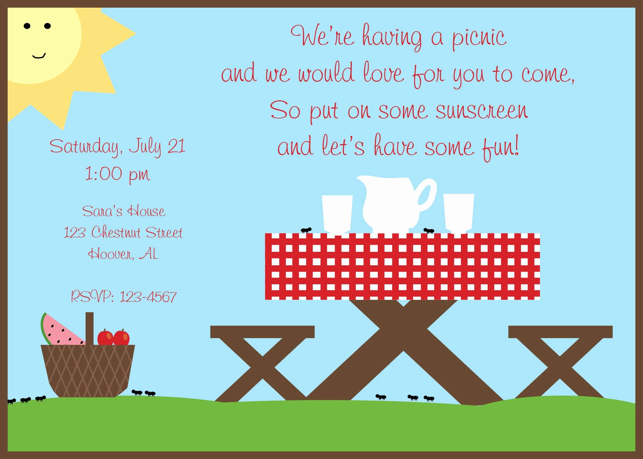 Picnic Invitation Templates Free Inspirational Pany Picnic Invitations