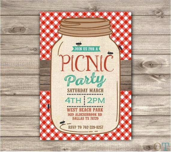 Picnic Invitation Templates Free Lovely Picnic Park Party Mason Jar Beach Bbq Family Reunion Birthday