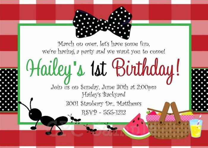 Picnic Invitation Templates Free Luxury Picnic Birthday Party Invitations Ideas – Bagvania Free