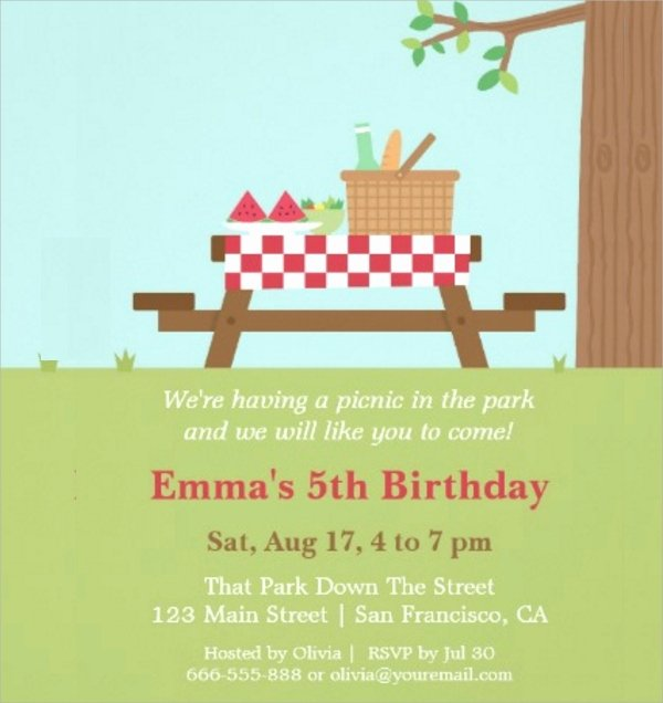 Picnic Invitations Templates Free Awesome 16 Picnic Invitations Psd Eps Ai Word
