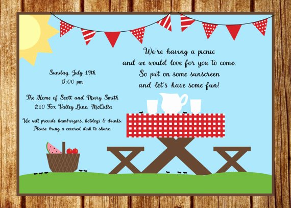 Picnic Invitations Templates Free Beautiful Summer Picnic Invitation Summer Party Invitation Custom Park