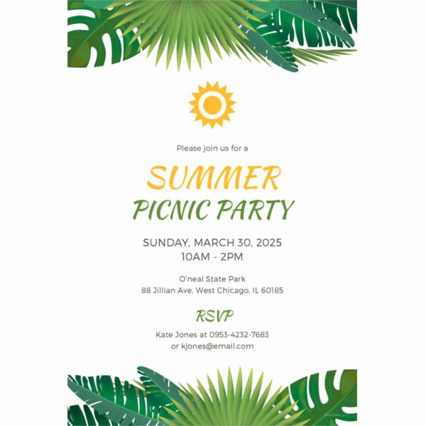 Picnic Invitations Templates Free Best Of Picnic Invitation Template 26 Sample Example format Download
