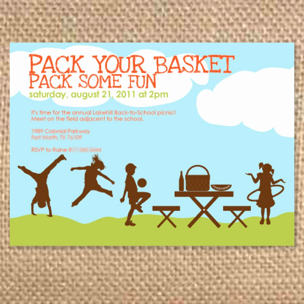 Picnic Invitations Templates Free Lovely Items Similar to Silhouette Kid S Birthday Picnic Invitation Summer Party Invitation Picnic