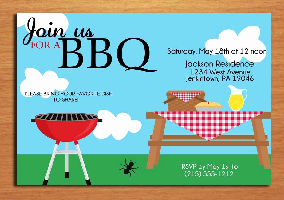 Picnic Invitations Templates Free Luxury Summer Picnic Customized Printable Bbq by Sapphiredigitalworks
