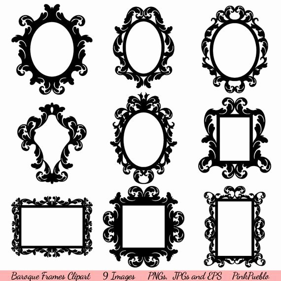 Picture Frame Template Free Beautiful Baroque Frames Clipart Clip Art Vintage Frames Borders