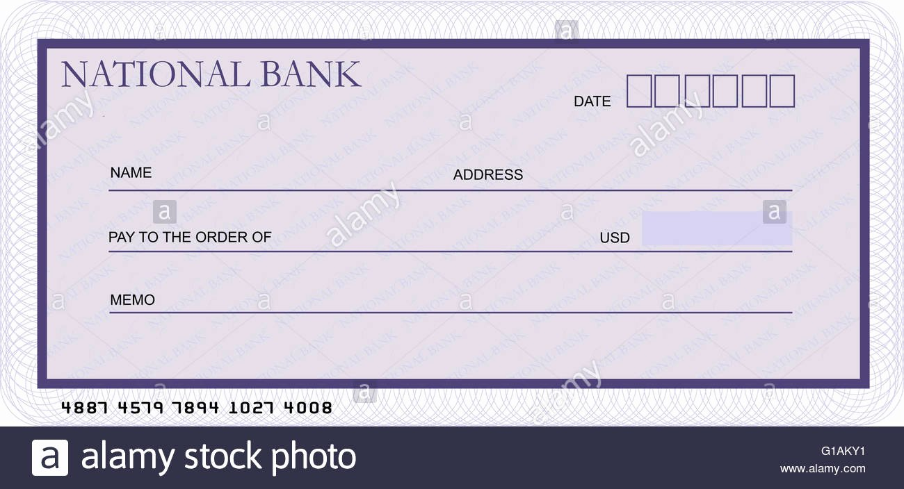 Picture Of A Blank Check New Blank Bank Cheque Template In Shades Of Violet Stock Alamy