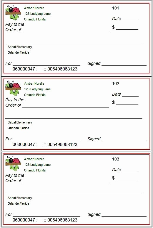 Picture Of A Blank Check New Blank Checks Template Printable Play Checks for Kids