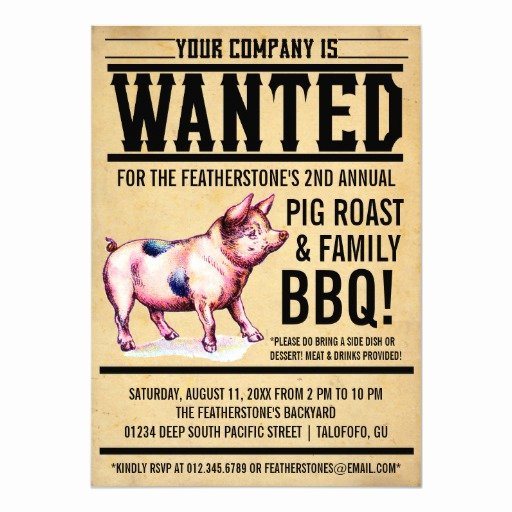"Pig Roast Invitation Template Free Awesome Vintage Pig Roast Family Bbq Invitations 5"" X 7"