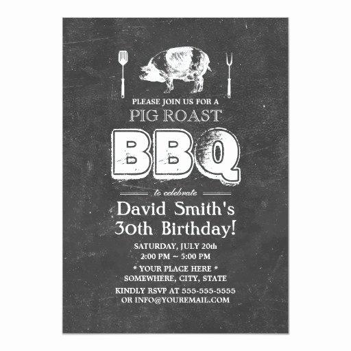 Pig Roast Invitation Template Free Beautiful Vintage Chalkboard Pig Roast Bbq Birthday Party 5x7 Paper