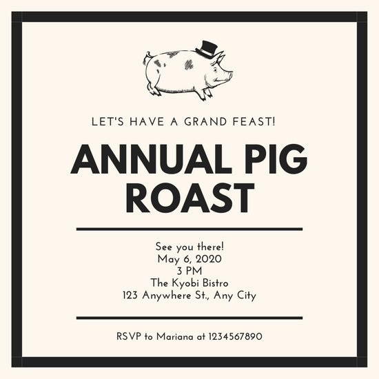 Pig Roast Invitation Template Free Lovely Customize 47 Pig Roast Invitation Templates Online Canva