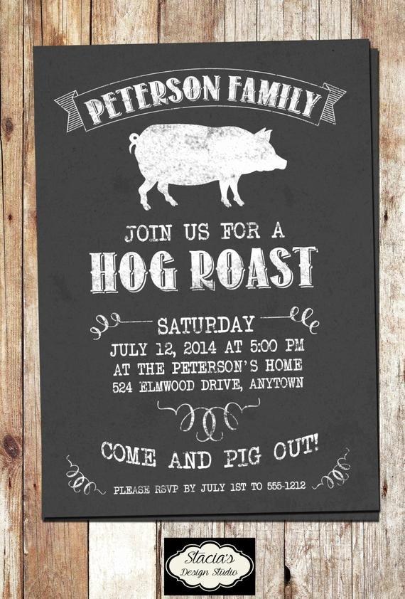 Pig Roast Invitation Template Free Lovely Customized Hog Roast or Pig Roast Printable by