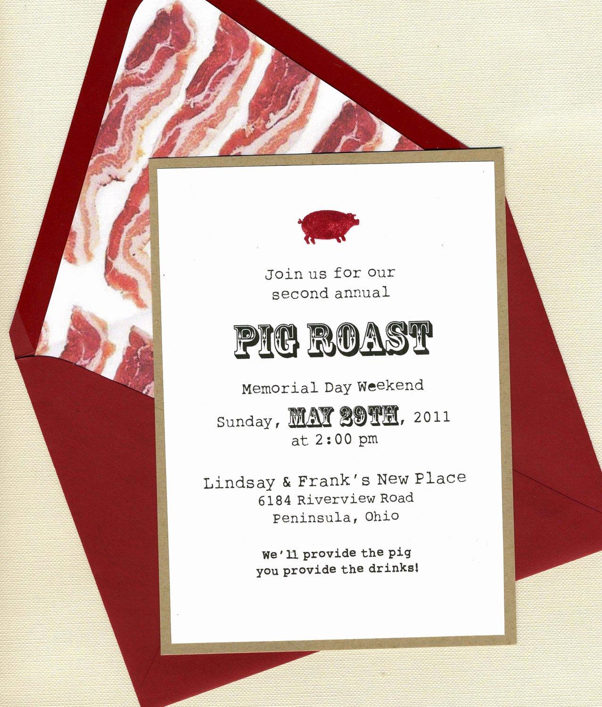 Pig Roast Invitation Template Free Unique Pig Roast Invitation by Bbinvitations On Etsy