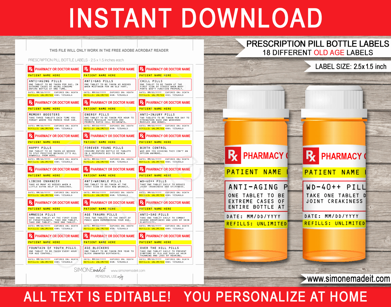 Pill Bottle Label Maker Inspirational Old Age Prescription Pill Bottle Labels Gag Gift