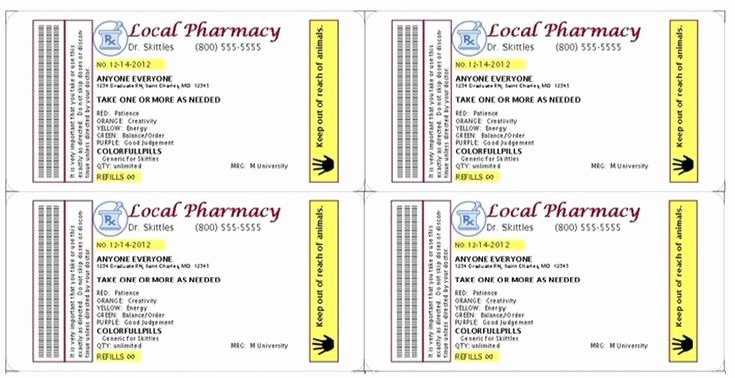 Pill Bottle Label Template Elegant Gag Prescription Label for Skittles