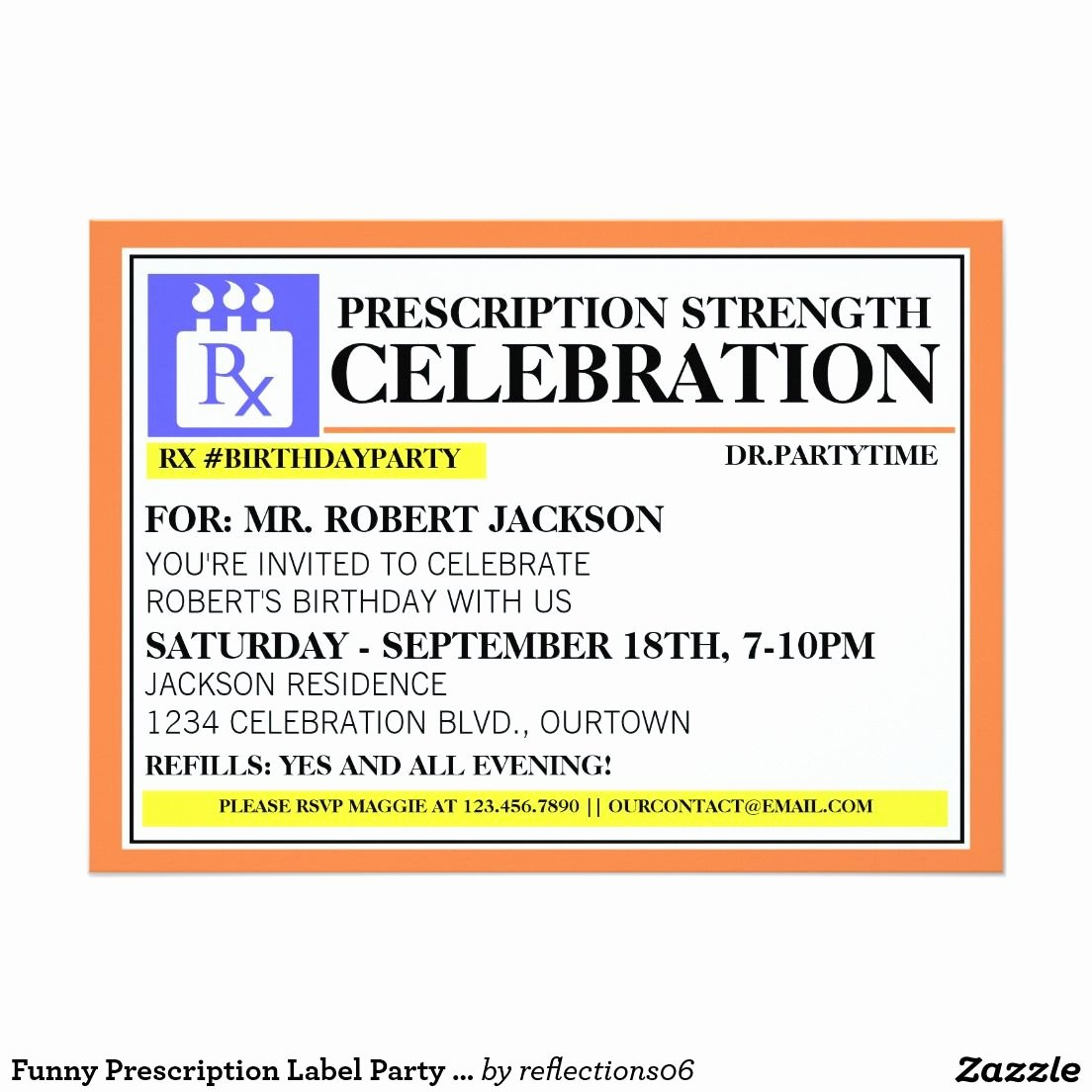 Pill Bottle Label Template Lovely Funny Prescription Label Birthday Party Invitation