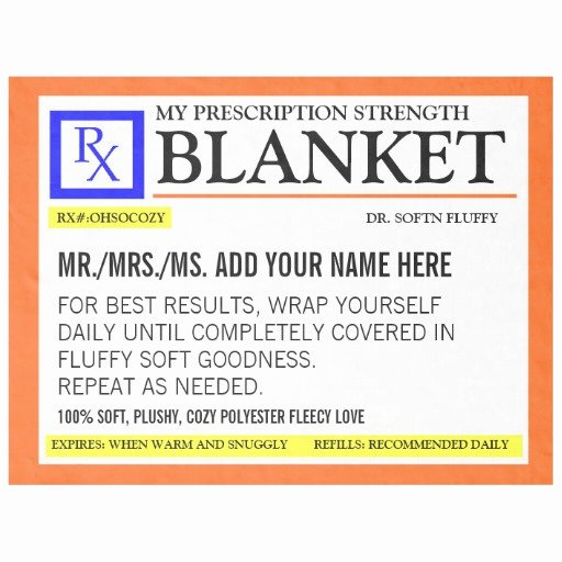 Pill Bottle Label Template New Funny Prescription Label Fleece Blanket