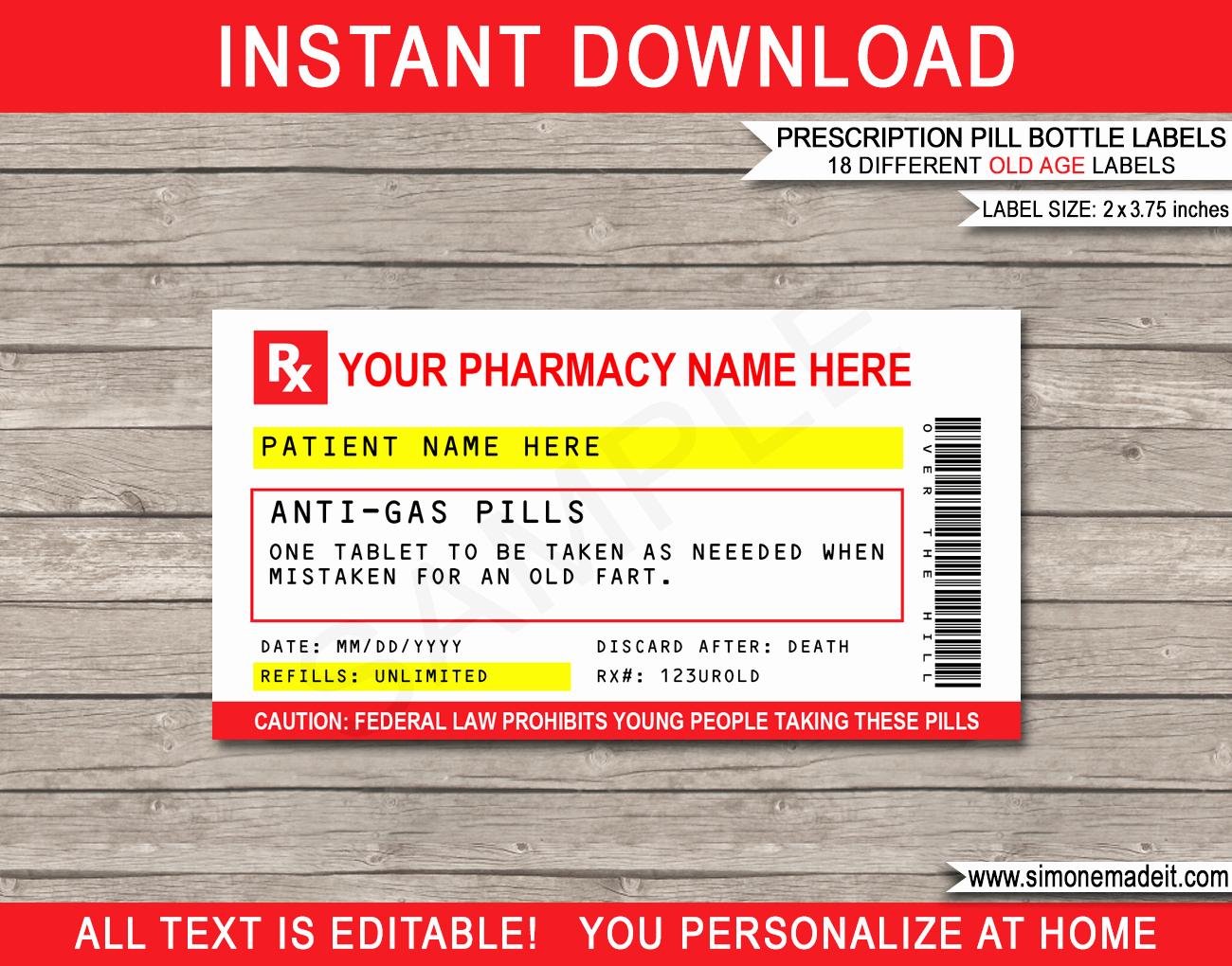 Pill Bottle Labels Templates Lovely Gag Prescription Labels Template