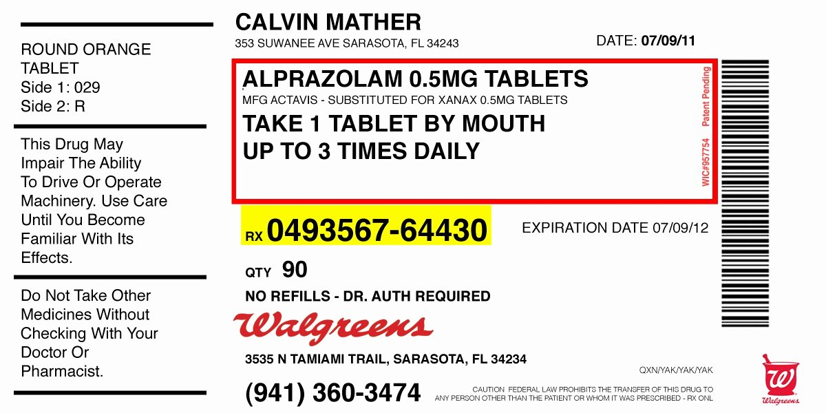 Pill Bottle Labels Templates Lovely Walgreens Prescription Label Template