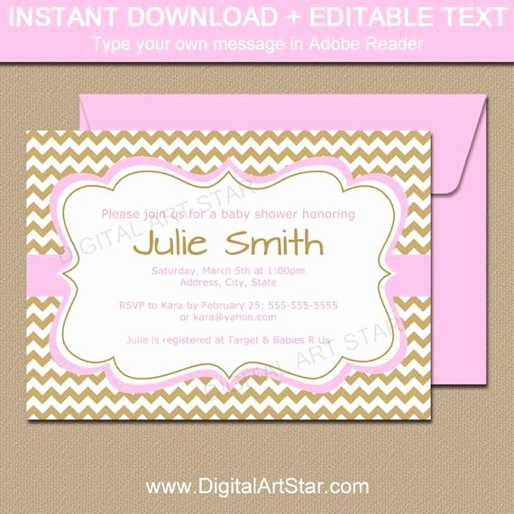 Pink and Gold Invitations Templates Awesome Girl Baby Shower Invitation Template Pink and Gold Baby
