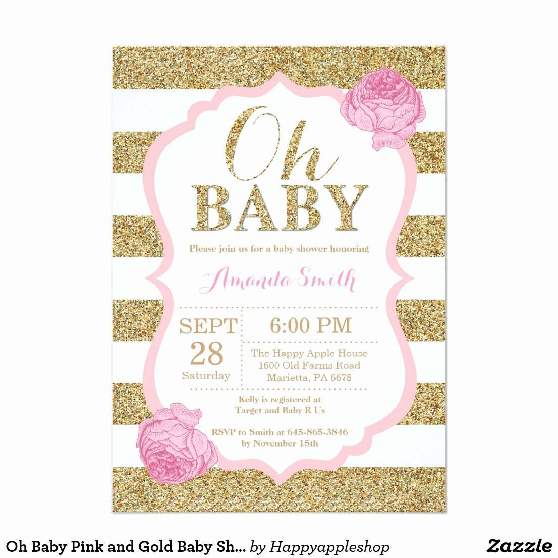Pink and Gold Invitations Templates Awesome Oh Baby Pink and Gold Baby Shower Invitation Zazzle Babies and Baby Showers