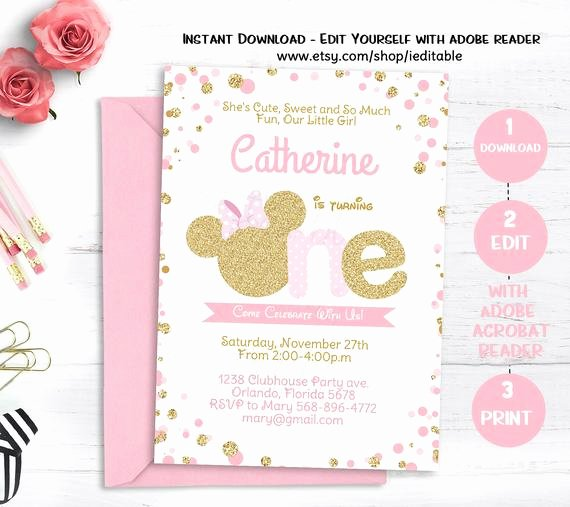 Pink and Gold Invitations Templates Awesome Pink and Gold Minnie Mouse Birthday Invitation Polka Dot