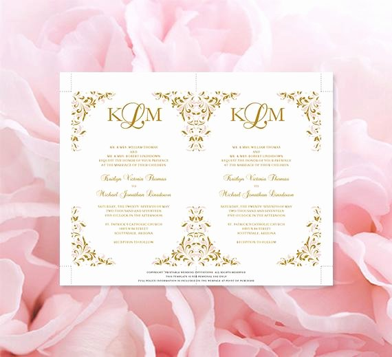 Pink and Gold Invitations Templates Beautiful Blush Pink and Gold Printable Wedding Invitation Template Kaitlyn Wedding Template Shop