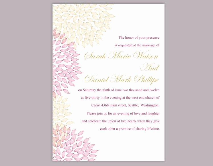 Pink and Gold Invitations Templates Best Of Diy Wedding Invitation Template Editable Word File Instant Download Printable Floral Invitation