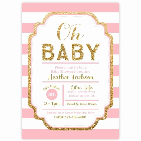 Pink and Gold Invitations Templates Fresh Pink and Gold Glitter Baby Shower Invitation Aditional Colors Avalab – Ellison Reed