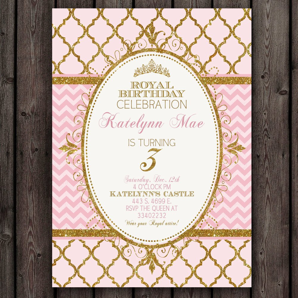 Pink and Gold Invitations Templates Fresh Pink and Gold Princess Invitation Royal Princess Party