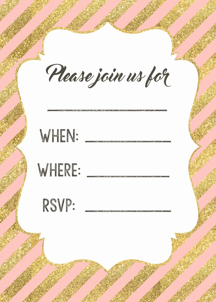 Pink and Gold Invitations Templates Lovely Pink and Gold Invitations Free Printable Paper Trail Design