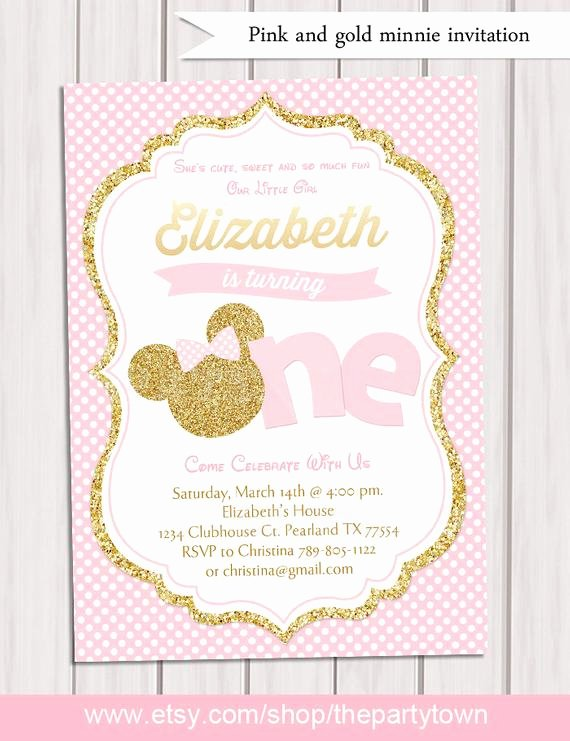 Pink and Gold Invitations Templates Lovely Pink and Gold Minnie Mouse First Birthday Party Invitation