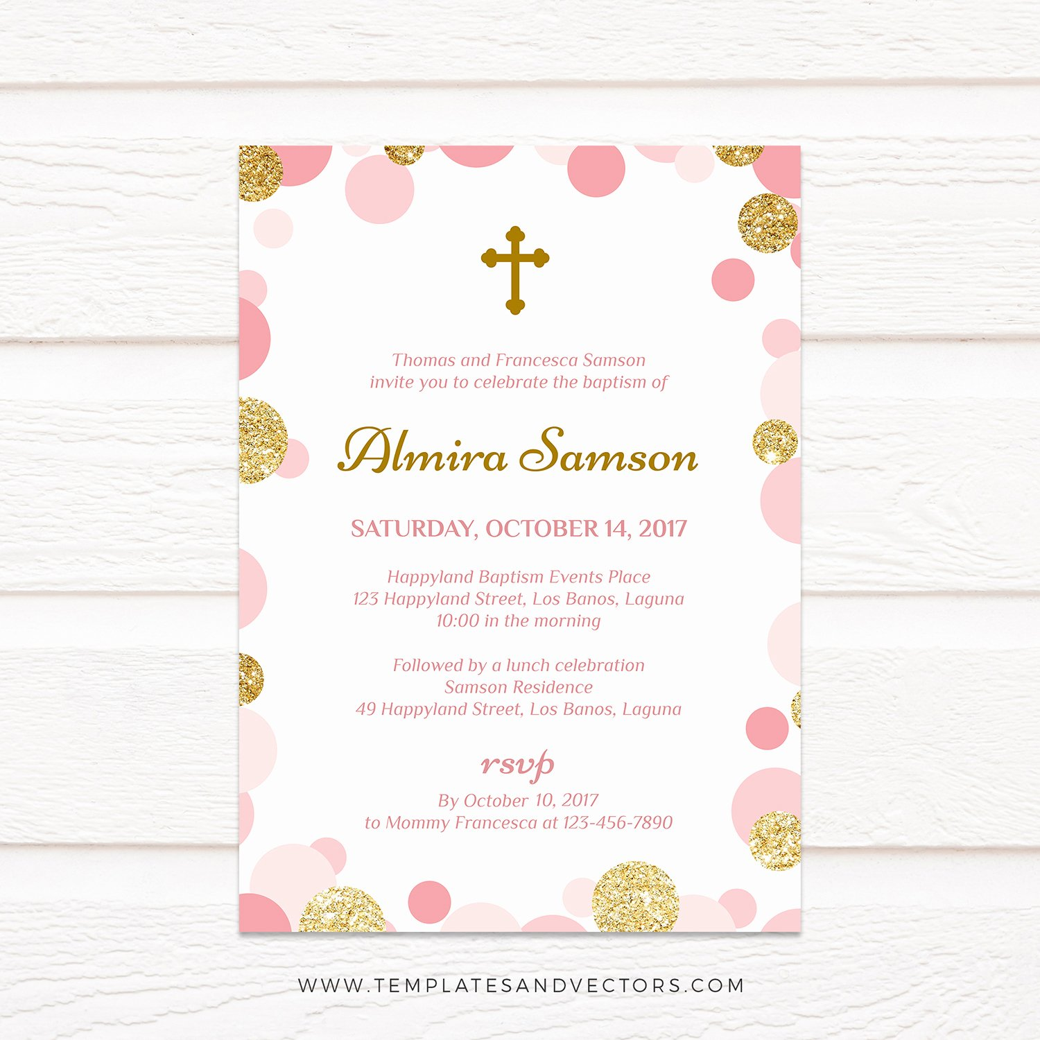 Pink and Gold Invitations Templates Lovely Tvc141 Pink and Gold Confetti Baptism Invitation Printable Template