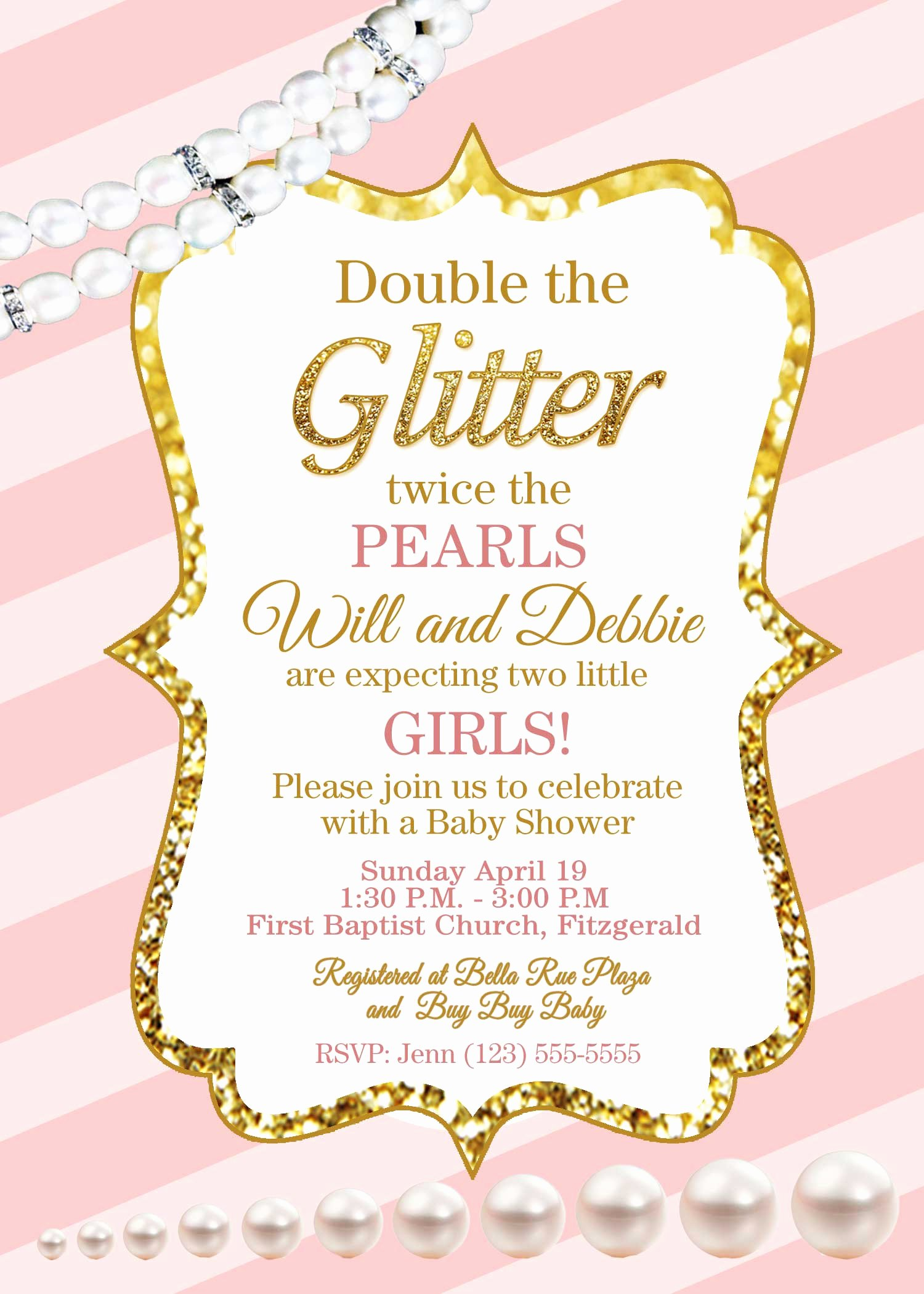 Pink and Gold Invitations Templates Luxury Giltter and Pearls Pink and Gold Baby Shower Invite