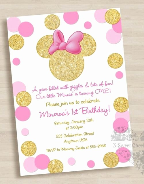 Pink and Gold Invitations Templates New 10 Minnie Mouse Pink Gold 1st Birthday or Baby Shower Invitations Adorable for Sale Online