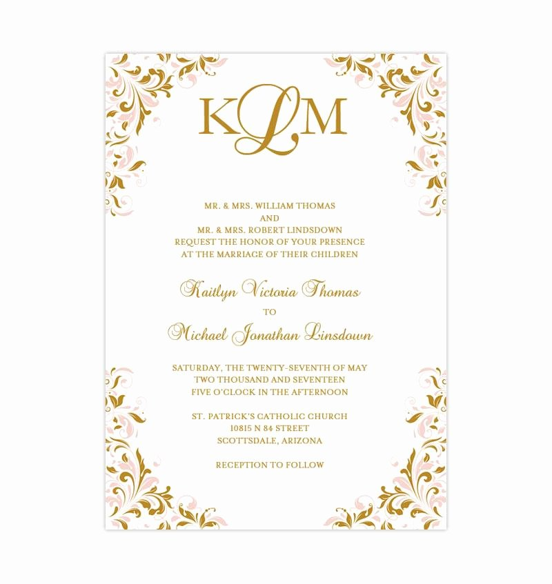 Pink and Gold Invitations Templates New Blush Pink and Gold Printable Wedding Invitation Template Kaitlyn Wedding Template Shop