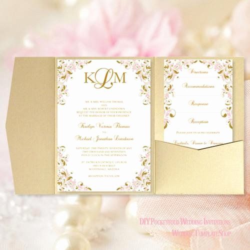 Pink and Gold Invitations Templates New Pocket Fold Wedding Invitations Kaitlyn Blush Pink Gold 5x7 Wedding Template Shop