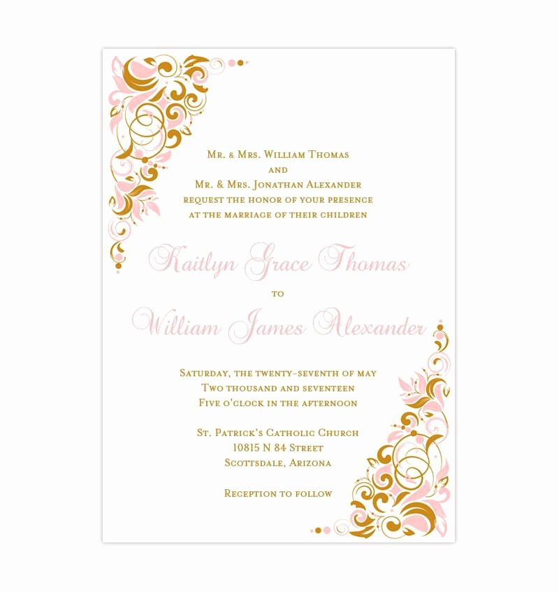 Pink and Gold Invitations Templates Unique Gianna Wedding Invitation Blush Pink Gold Wedding Template Shop